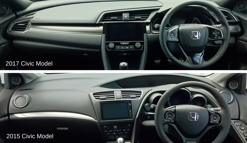 Honda Civic interior 2017 vs 2015