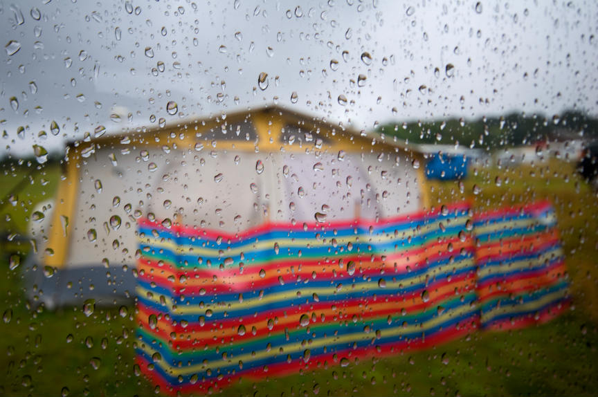 Caravan awning in storm