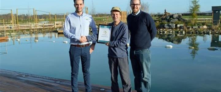 Luxury glamping resort's natural swimming pool wins award