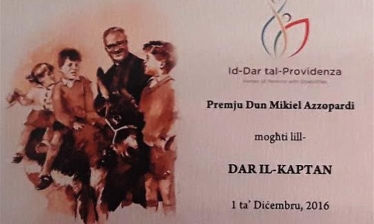 Il-Ħidma ta' Dar il-Kaptan rikonoxxuta bil-Premju Dun Mikiel Azzopardi