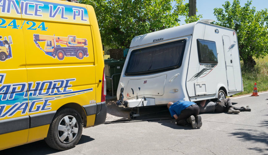 Fixing caravan puncture