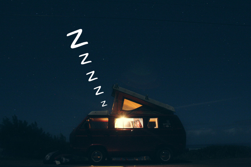 sleeping in a campervan
