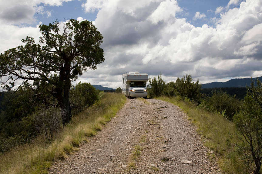 motorhome on bumpy road