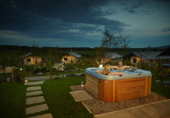 Glamping with private hot tub