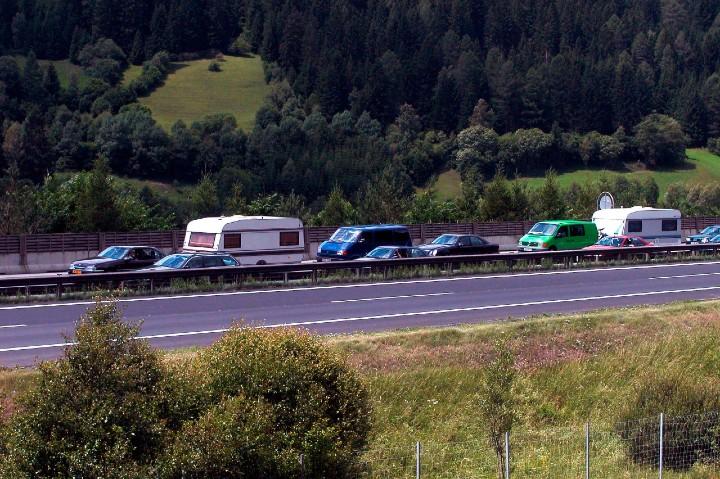 caravan in traffic jam